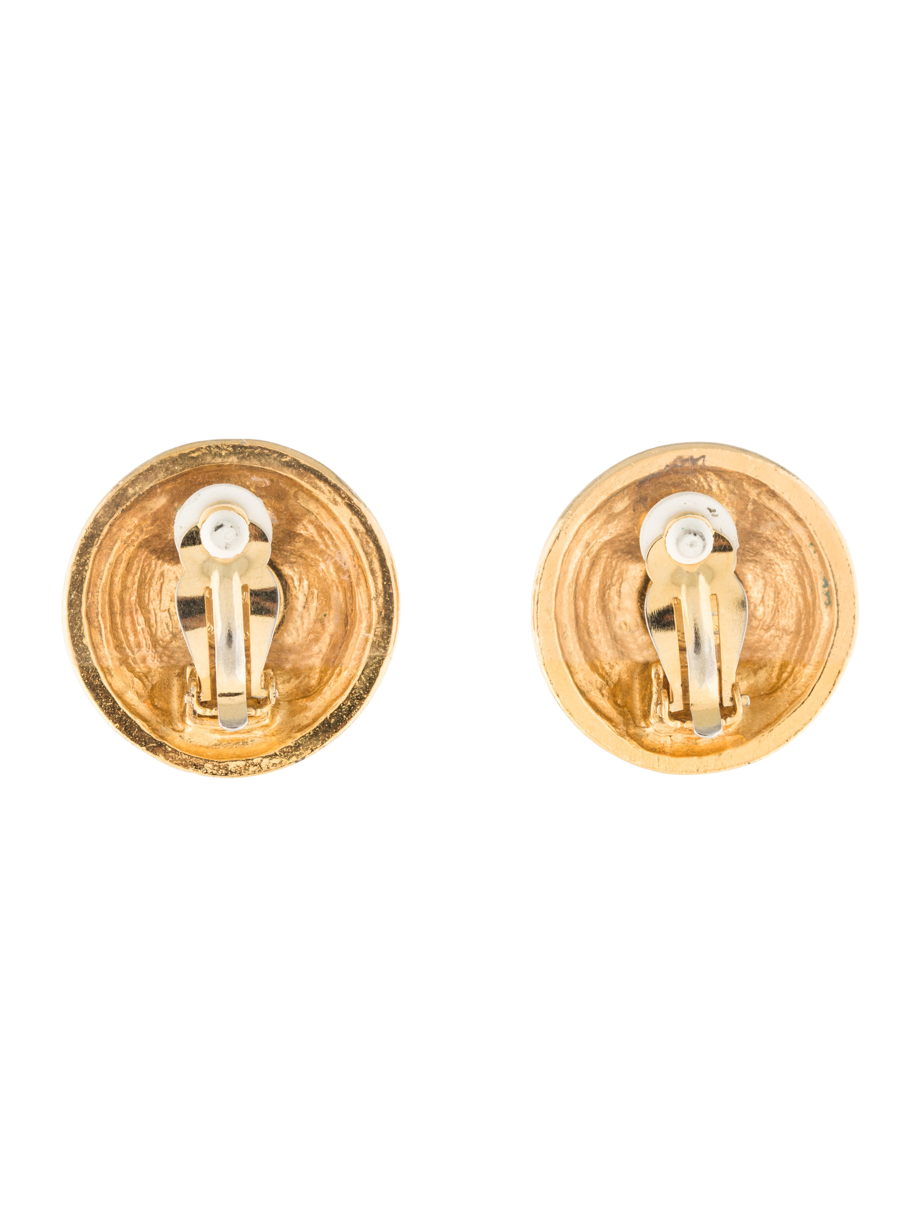 chanel cc dome earrings earrings cha181343 the realreal