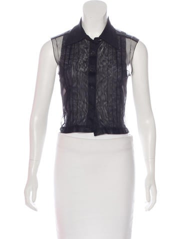 Chanel Pleated Mesh Top None