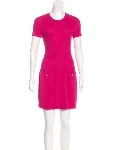 Chanel Rib Knit Mini Dress None