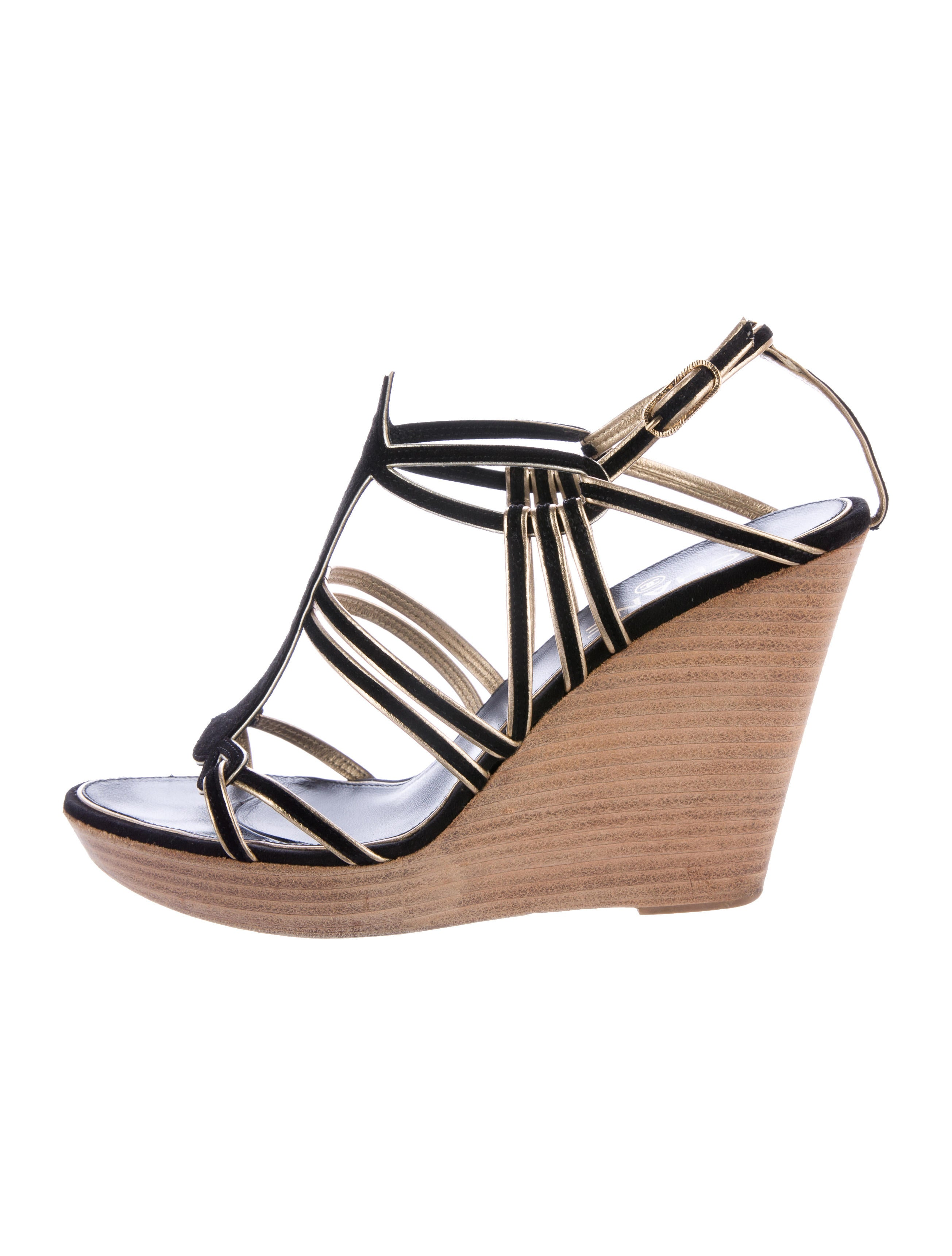 chanel multistrap suede wedges shoes cha181788 the