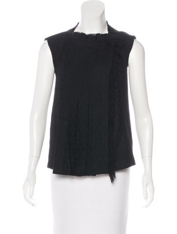 Chanel Sleeveless Tweed Top None