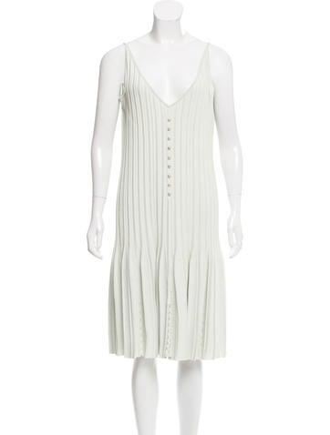 Chanel Pleated Sleeveless Dress None