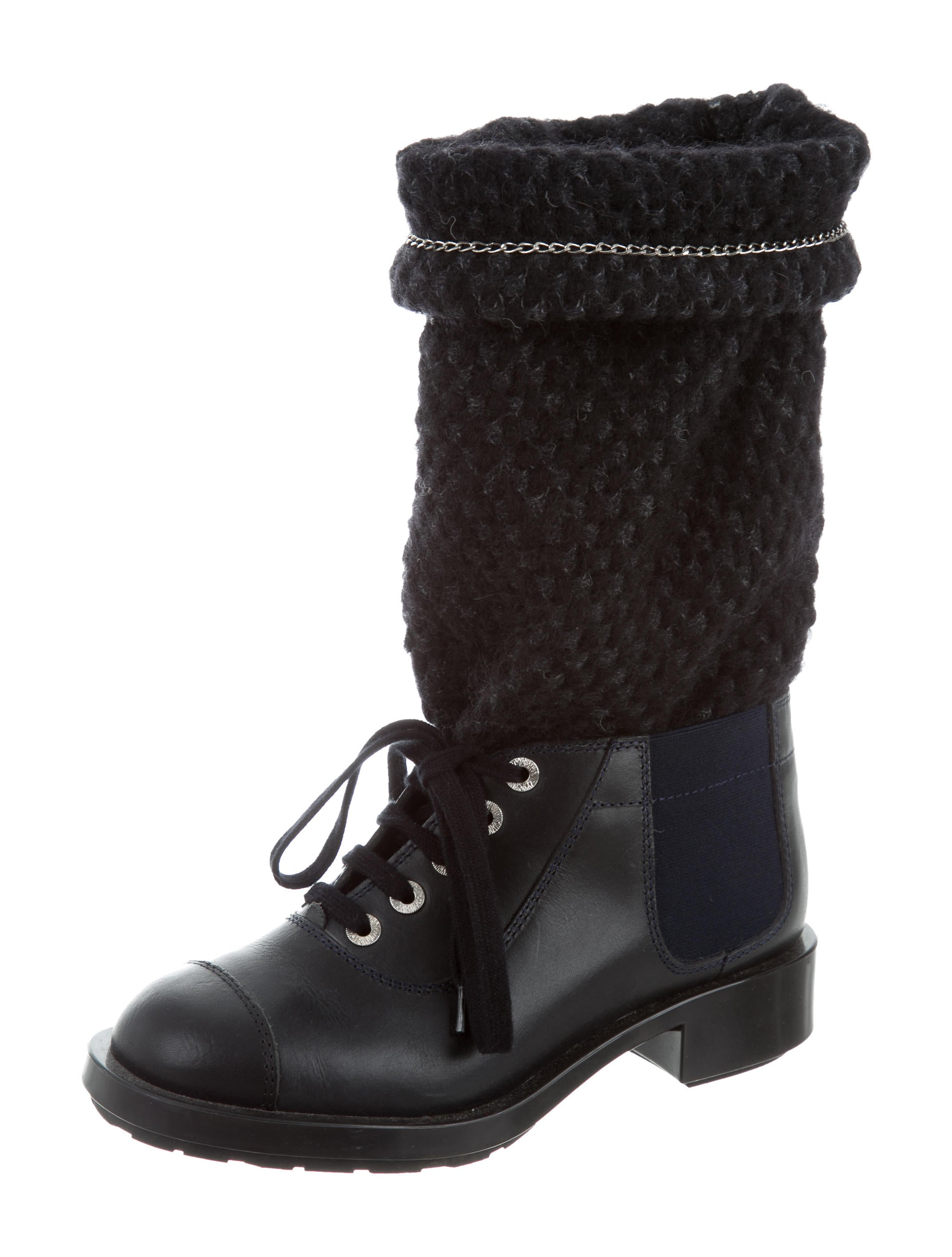 chanel leather lace up ankle boots shoes cha183865