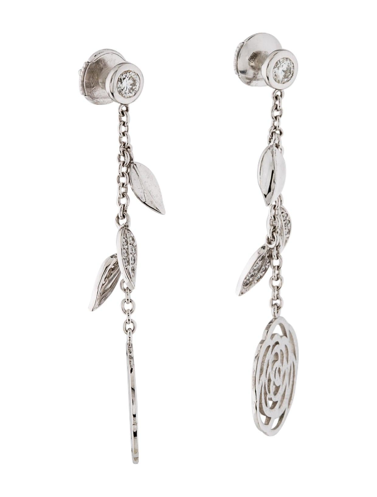 chanel 18k camellia diamond drop earrings earrings. Black Bedroom Furniture Sets. Home Design Ideas