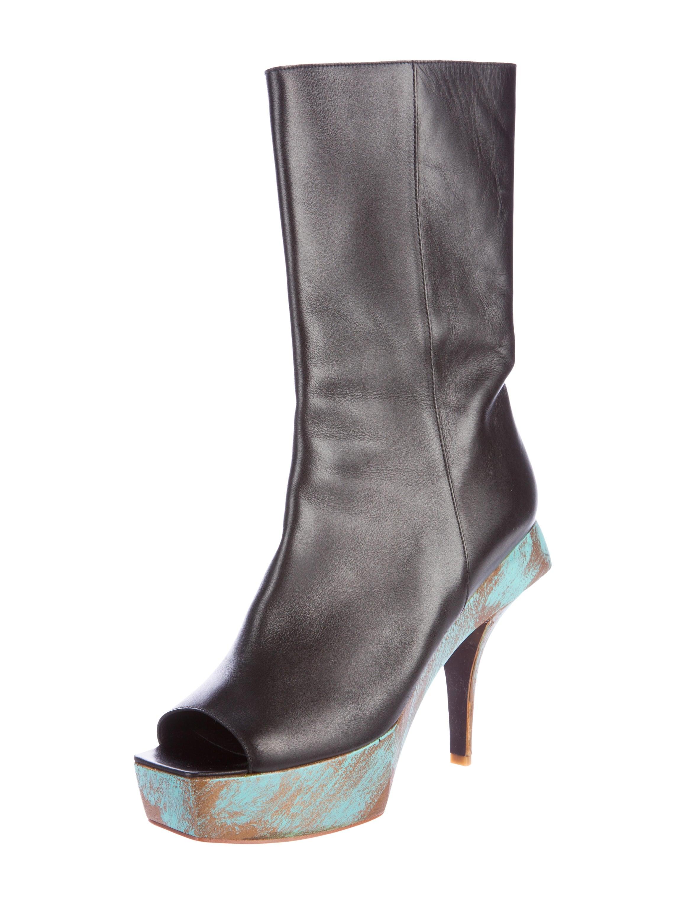 chanel platform peep toe ankle boots shoes cha185225