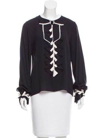 Chanel Silk Long Sleeve Blouse None
