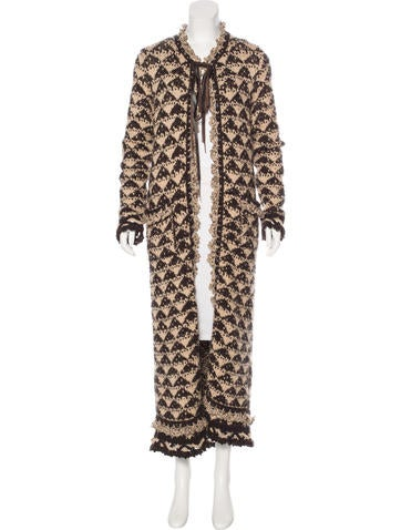 Chanel Wool-Blend Longline Cardigan None