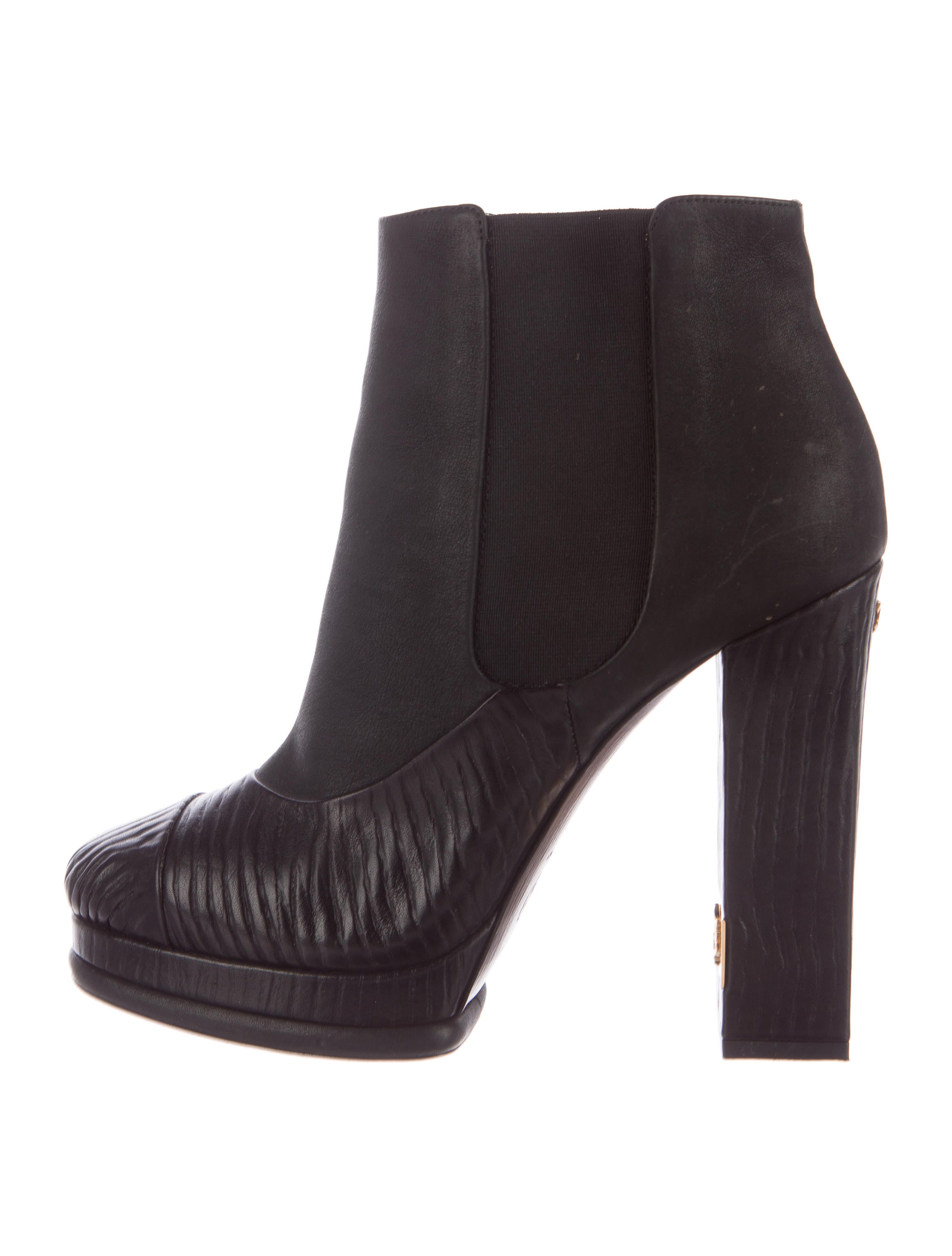 chanel embossed platform ankle boots shoes cha185723