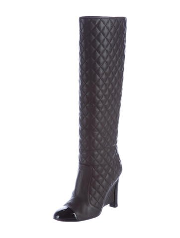 chanel quilted cap toe wedge boots shoes cha185900