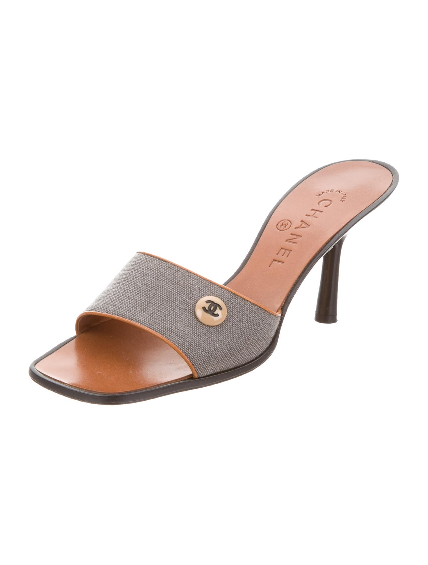 chanel canvas slide sandals shoes cha186057 the realreal