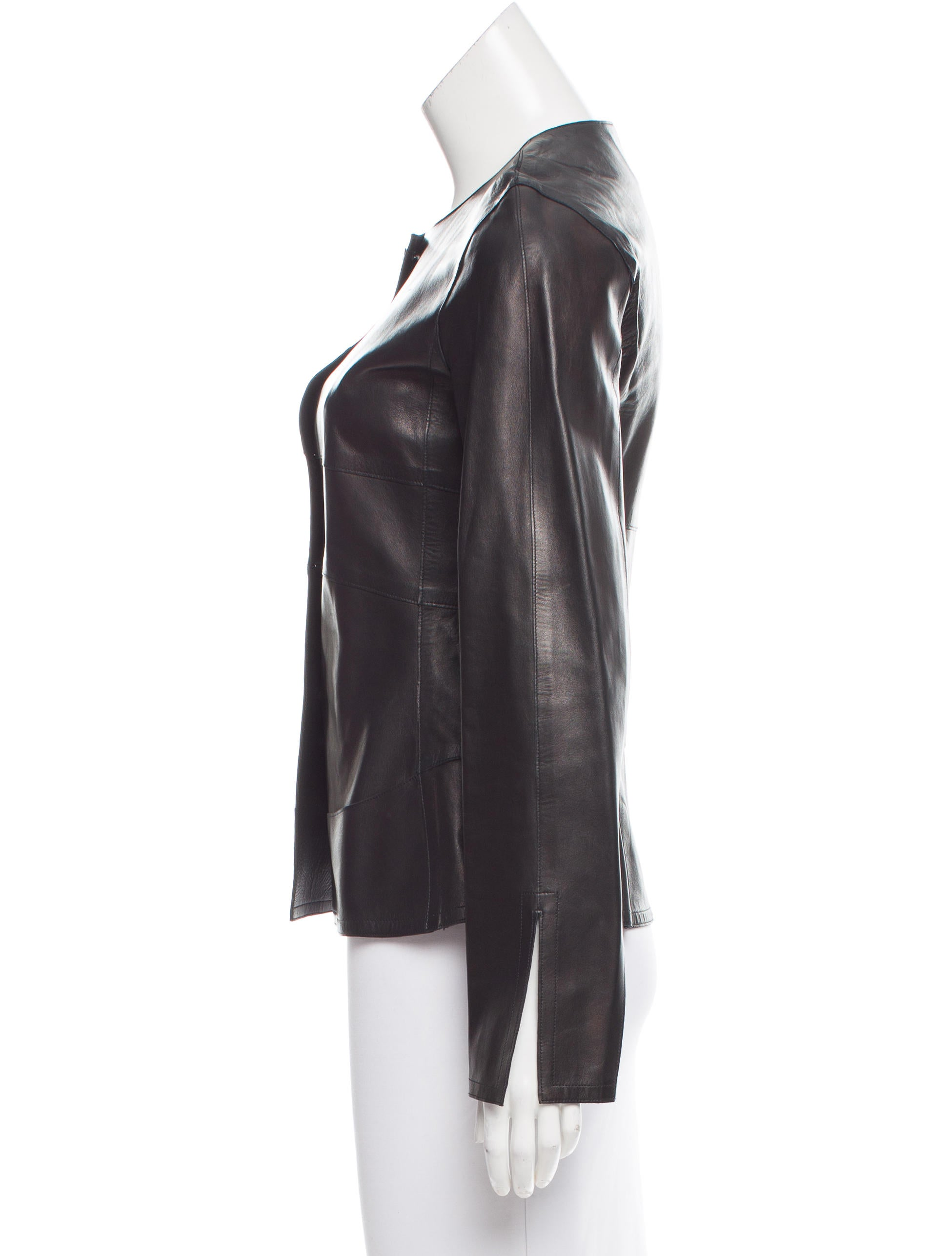 Chanel Button-Up Leather Jacket - Clothing - CHA186185 ...