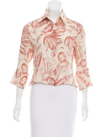 Chanel Interlocking CC Printed Silk Top None