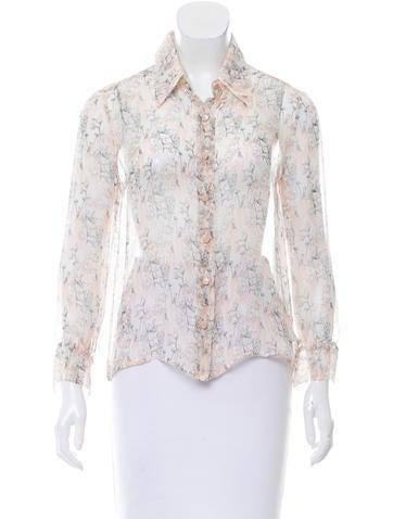 Chanel Printed Silk Top None