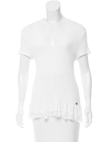 Chanel Rib Knit Short Sleeve Top None
