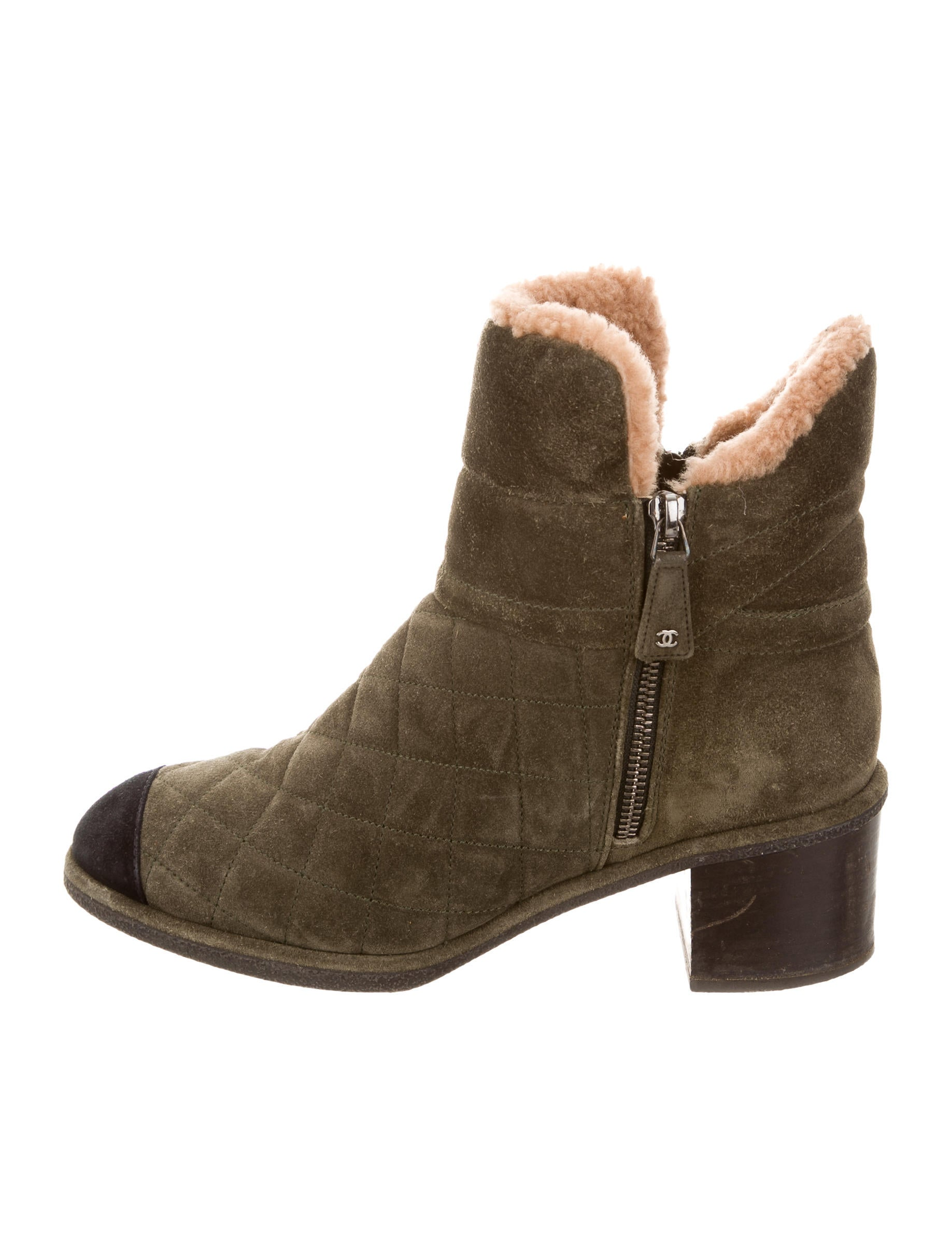 chanel quilted shearling lined ankle boots shoes