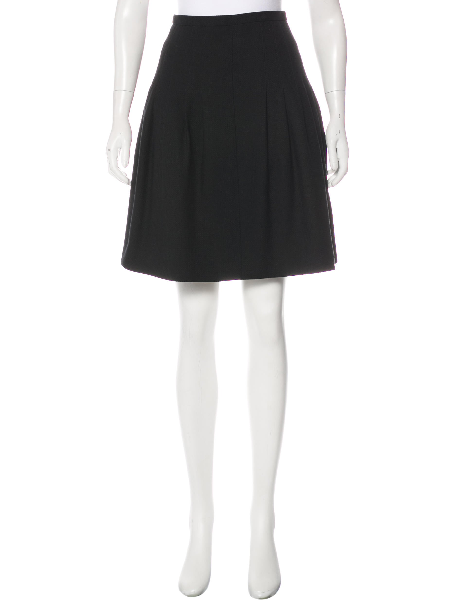 chanel wool a line skirt clothing cha187723 the realreal