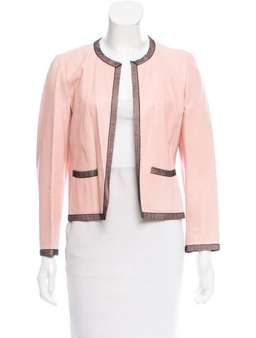 Chanel Leather Mesh-Trimmed Jacket None
