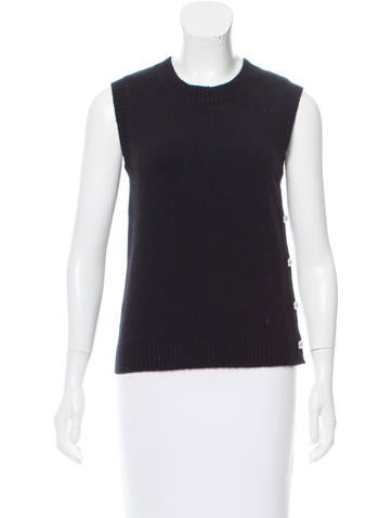 Chanel Cashmere & Wool-Blend Sleeveless Top None