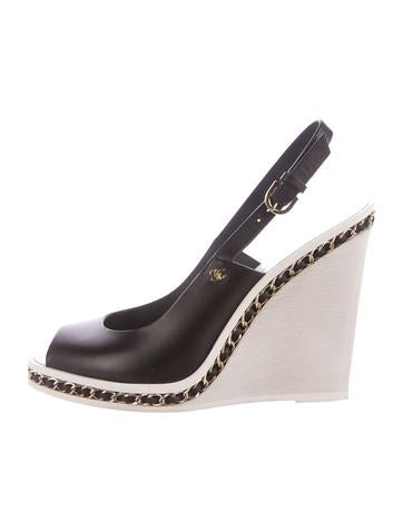 Chanel Chain-Link Wedge Sandals None
