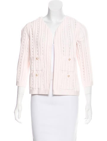 Chanel Rib Knit Open-Front Cardigan None
