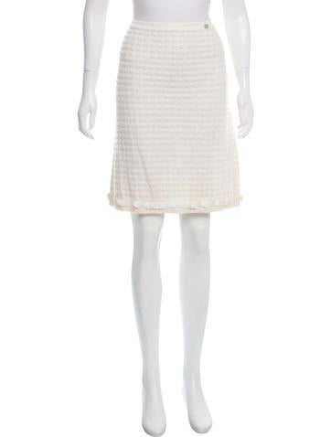 Chanel Wool & Cashmere-Blend Skirt w/ Tags None