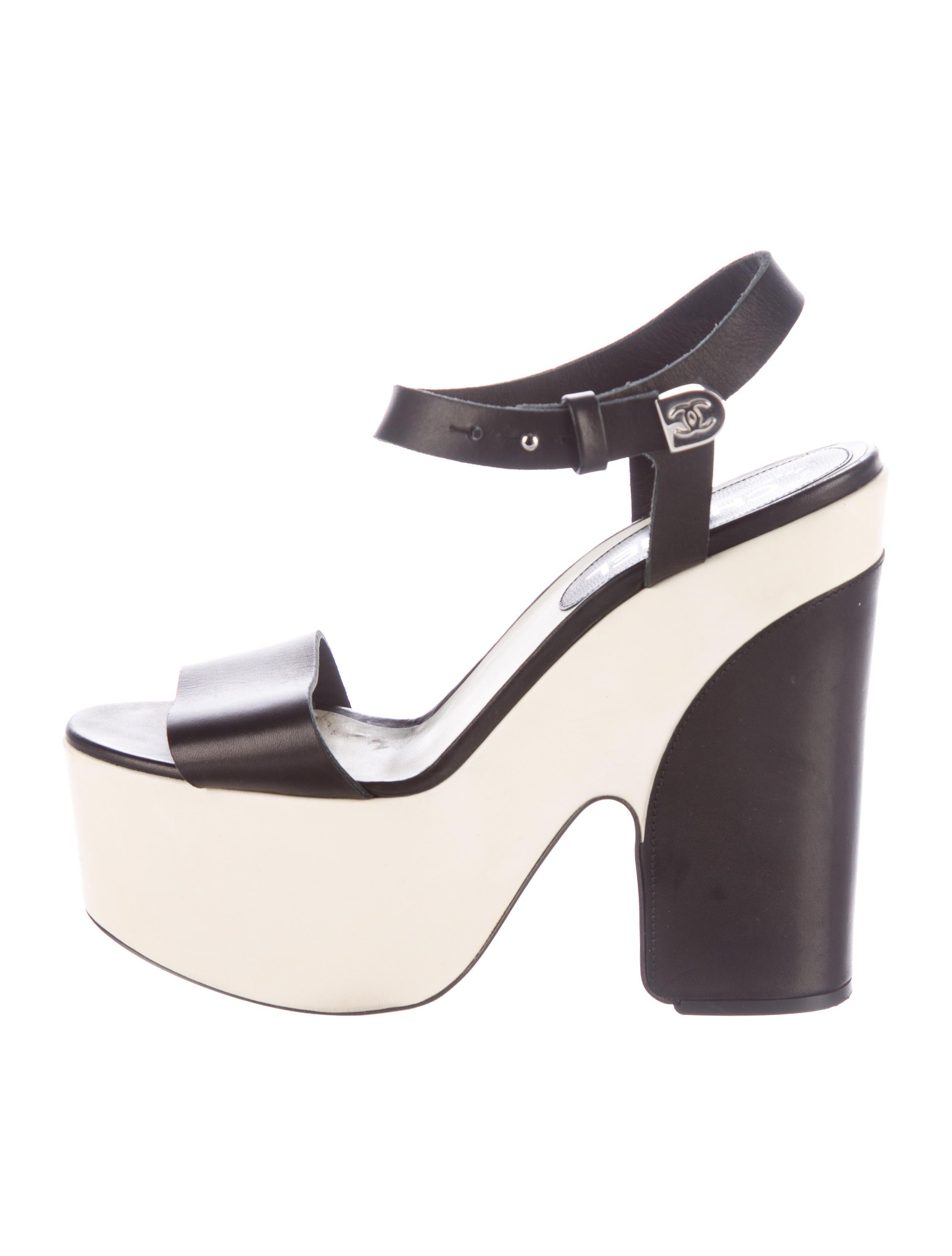 chanel leather platform ankle sandals shoes