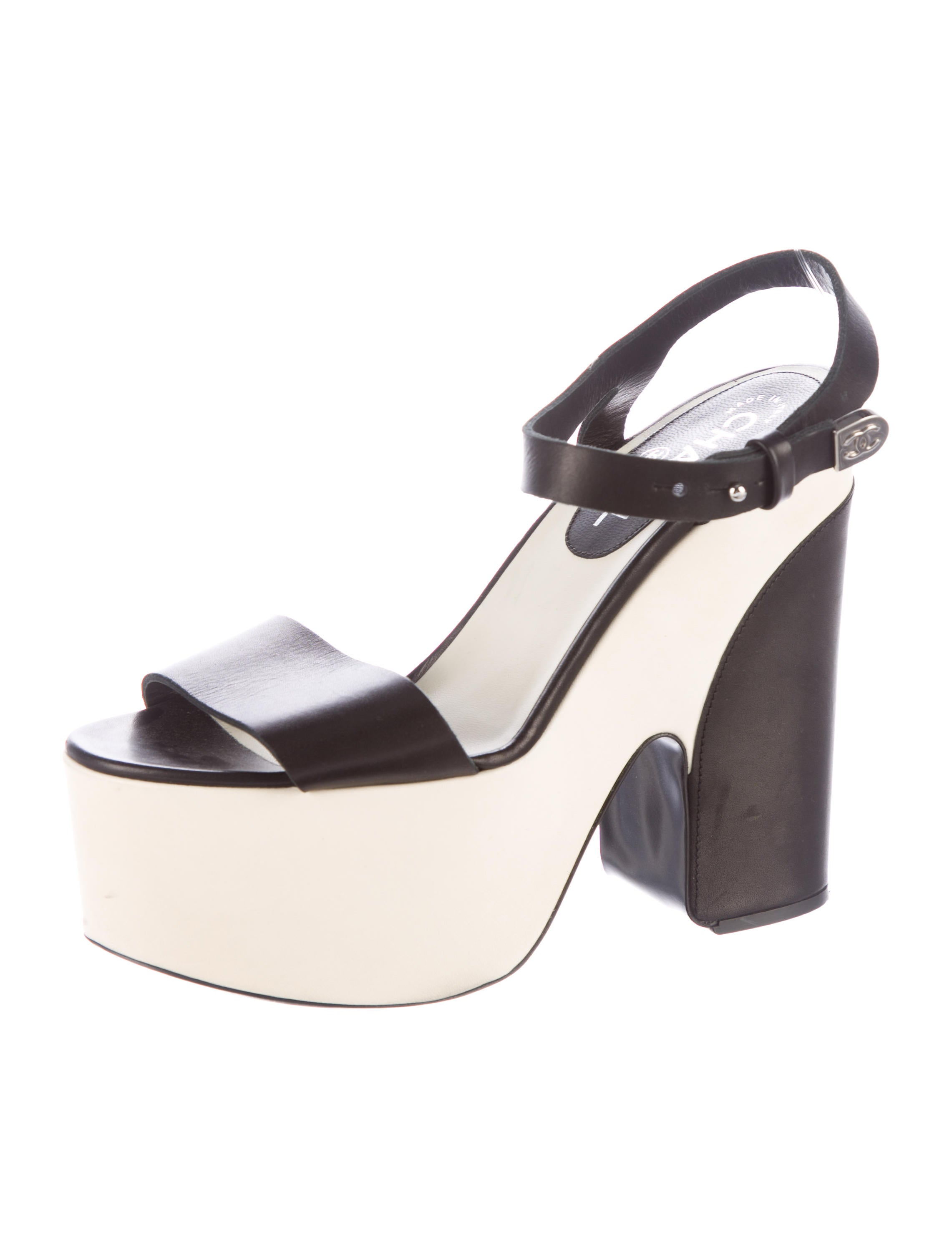 Chanel Leather Platform Ankle Strap Sandals - Shoes - CHA188169 | The RealReal