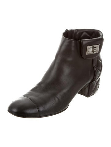 chanel quilted ankle boots shoes cha188337 the realreal