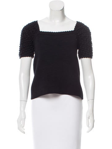 Chanel Short Sleeve Rib Knit Top None