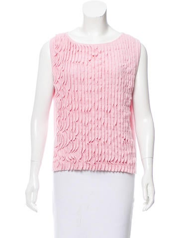 Chanel Sleeveless Cashmere-Blend Top None