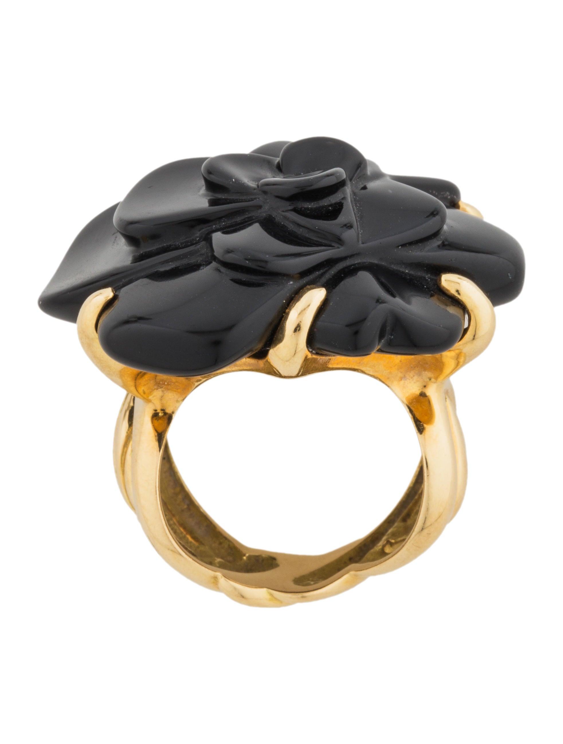 Chanel Camelia Onyx Ring