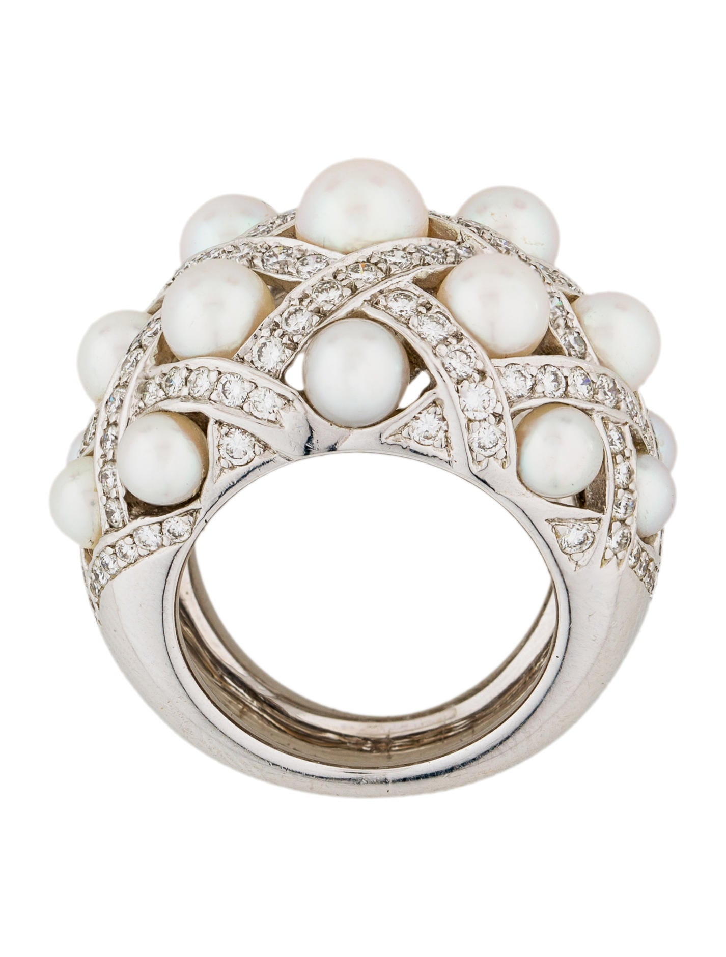 chanel 18k pearl diamond baroque cocktail ring rings. Black Bedroom Furniture Sets. Home Design Ideas