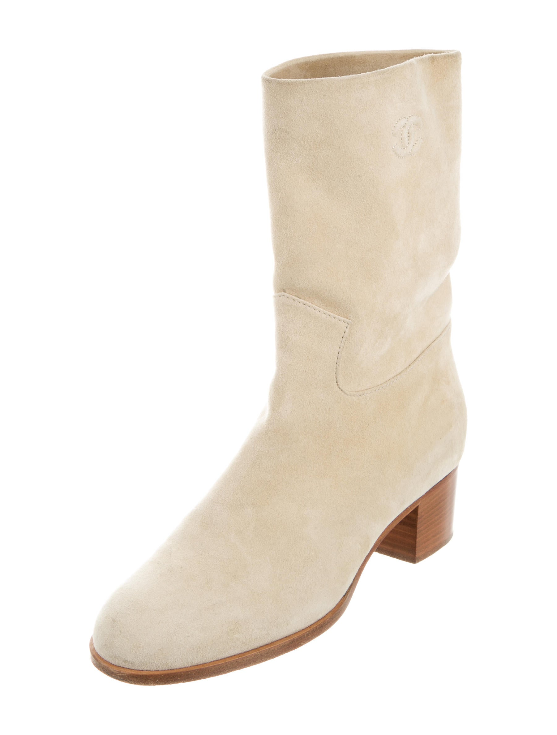 chanel suede mid calf boots shoes cha189217 the realreal