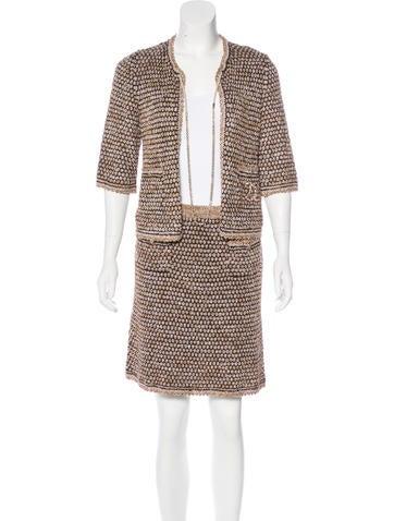 Chanel Cardigan Knit Skirt Set None