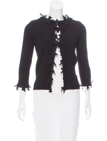 Chanel Silk-Accented Rib Knit Cardigan None