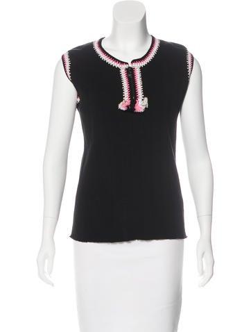 "Chanel Macramé-Trimmed Rib Knit Top"" None"