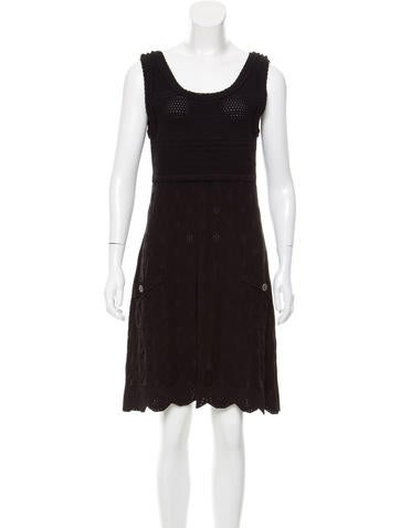 Chanel Sleeveless Open Knit Dress None