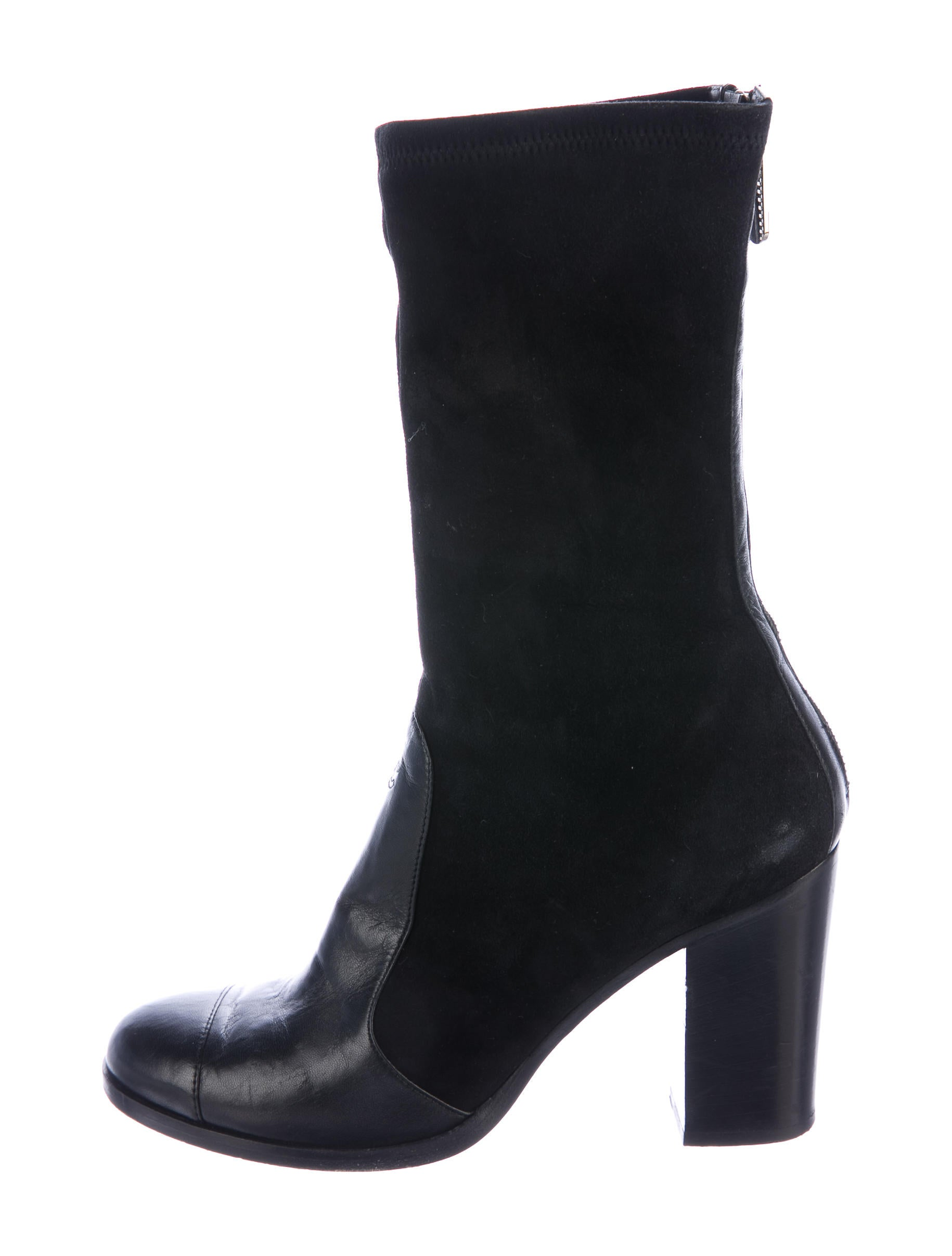 chanel suede cc ankle boots shoes cha189971 the realreal