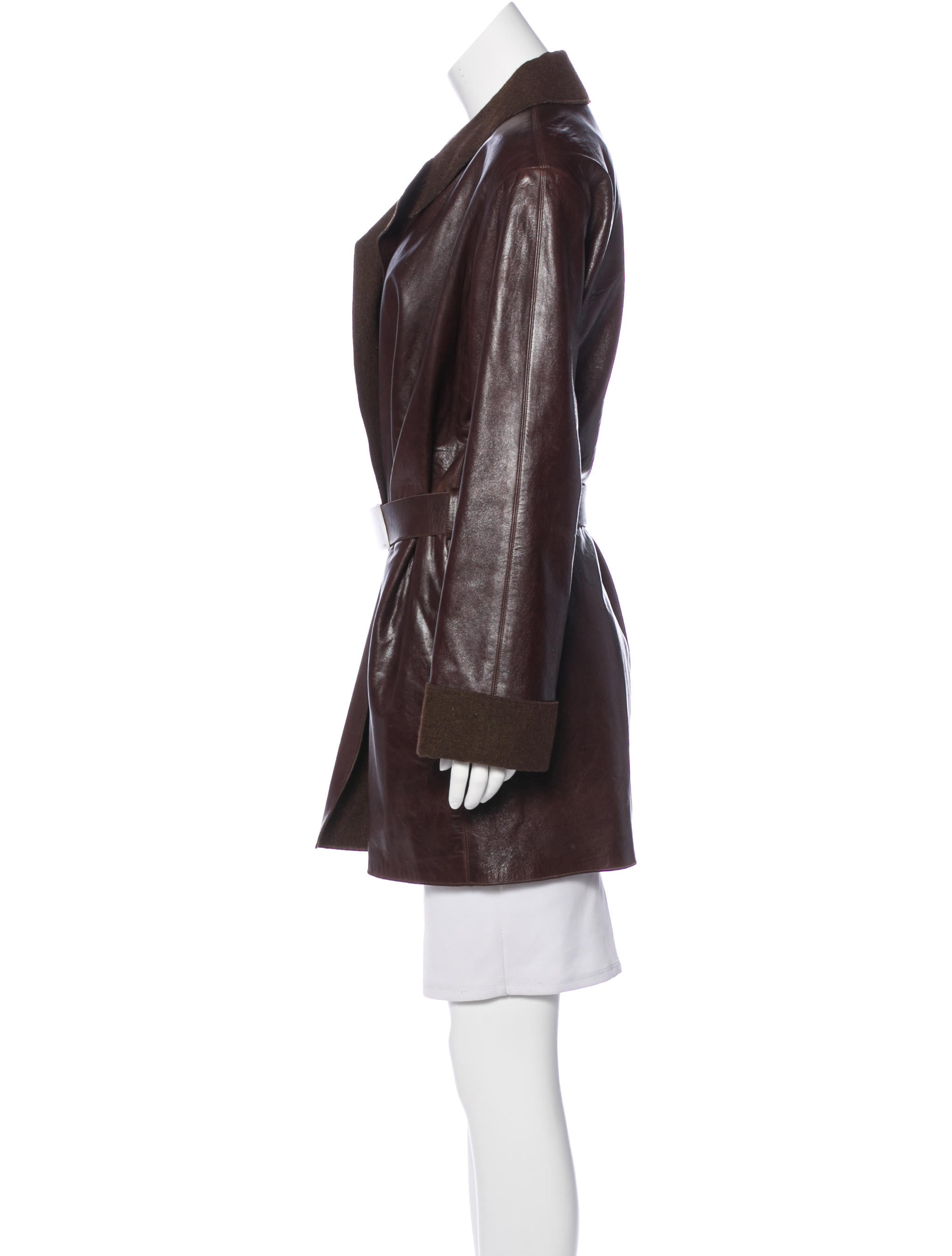 chanel leather belted jacket clothing cha190581 the
