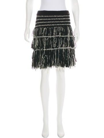 Chanel Cashmere Fringe Skirt None