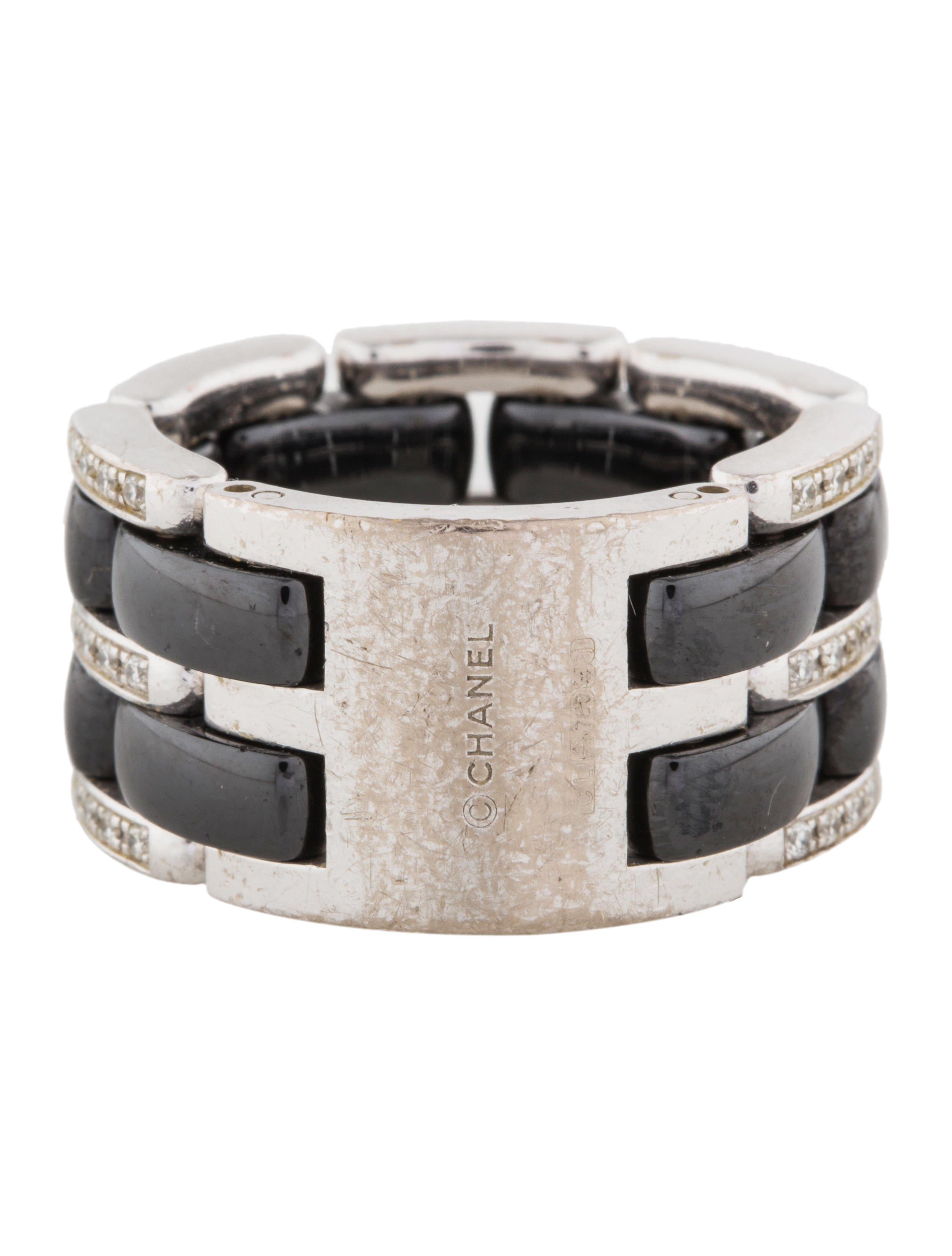 chanel 18k ceramic large ultra ring rings