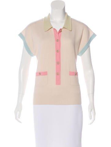 Chanel Colorblock Cashmere Top None