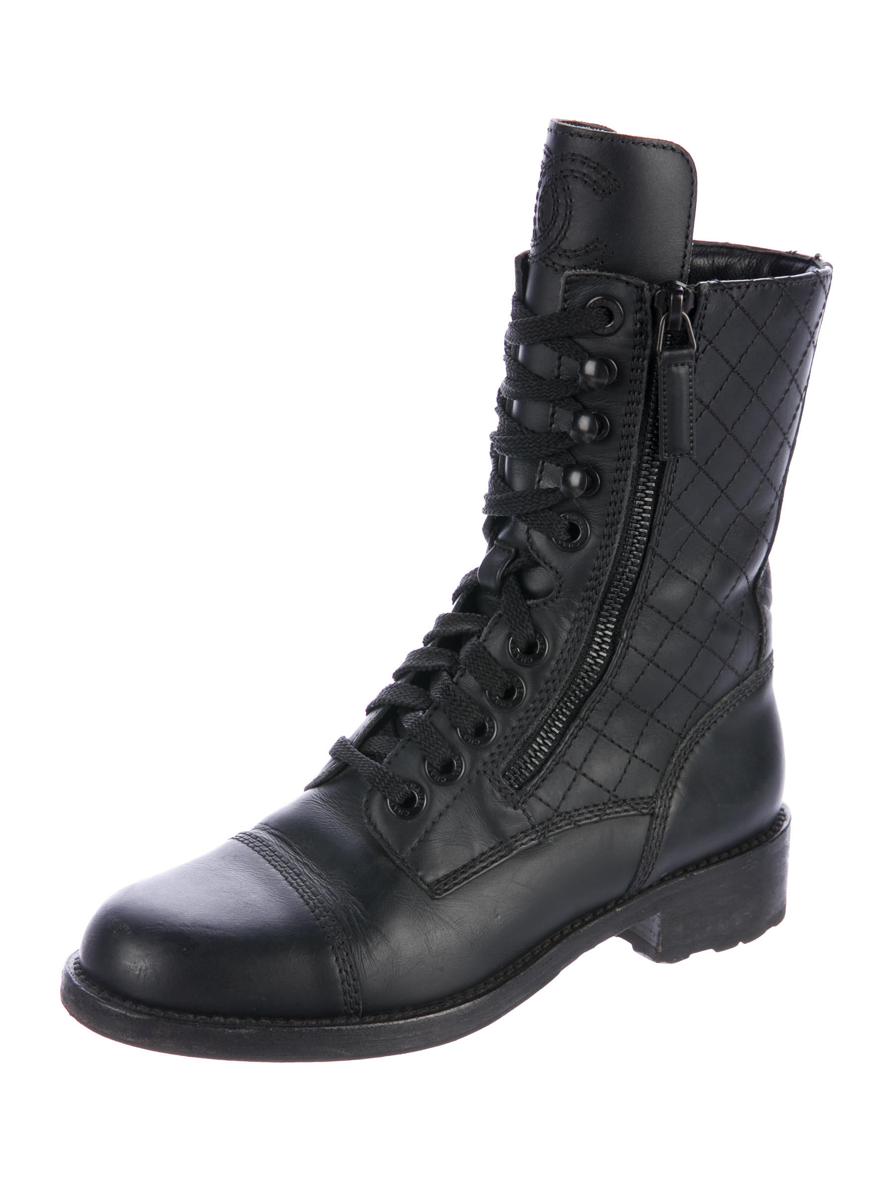 chanel quilted boots. quilted leather combat boots chanel