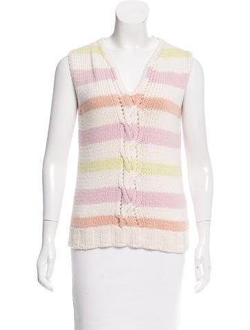 Chanel Striped Cashmere-Blend Top None