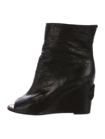 chanel peep toe wedge ankle boots shoes cha191708