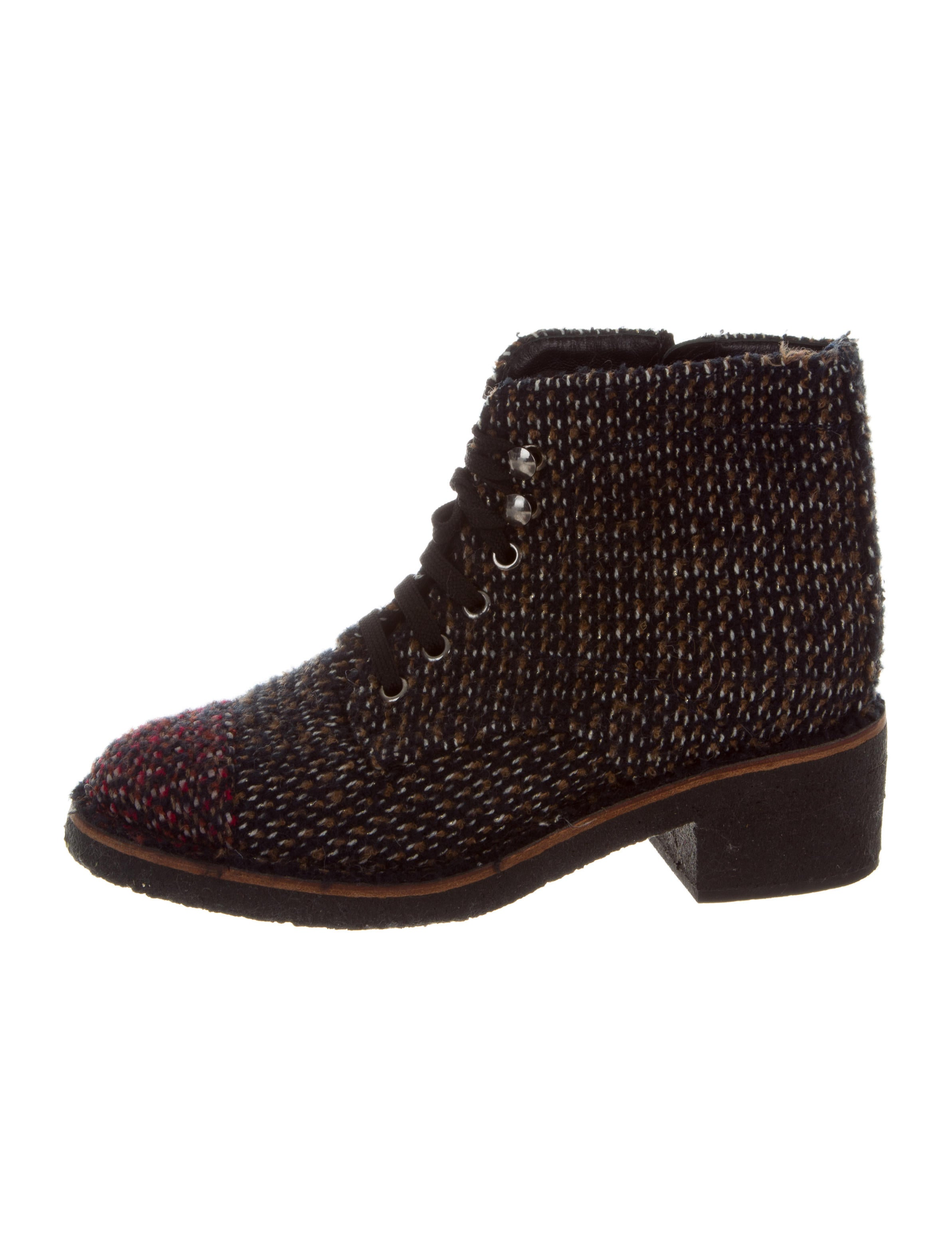 Women Multicolor Tweed Lace Up Shoes