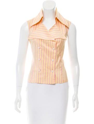 Chanel Silk Striped Top None