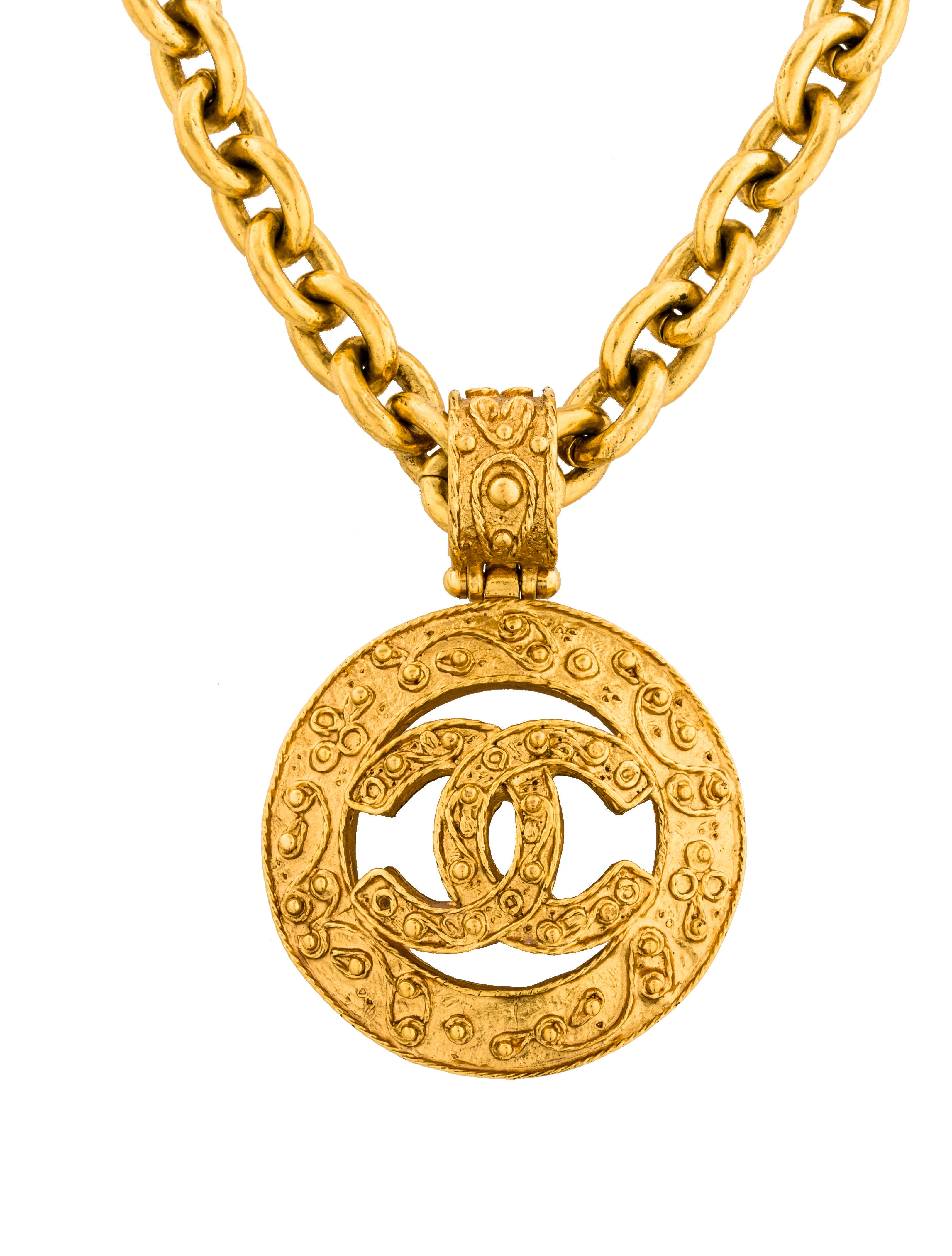 Chanel logo pendant necklace necklaces cha192245 the realreal logo pendant necklace aloadofball Image collections