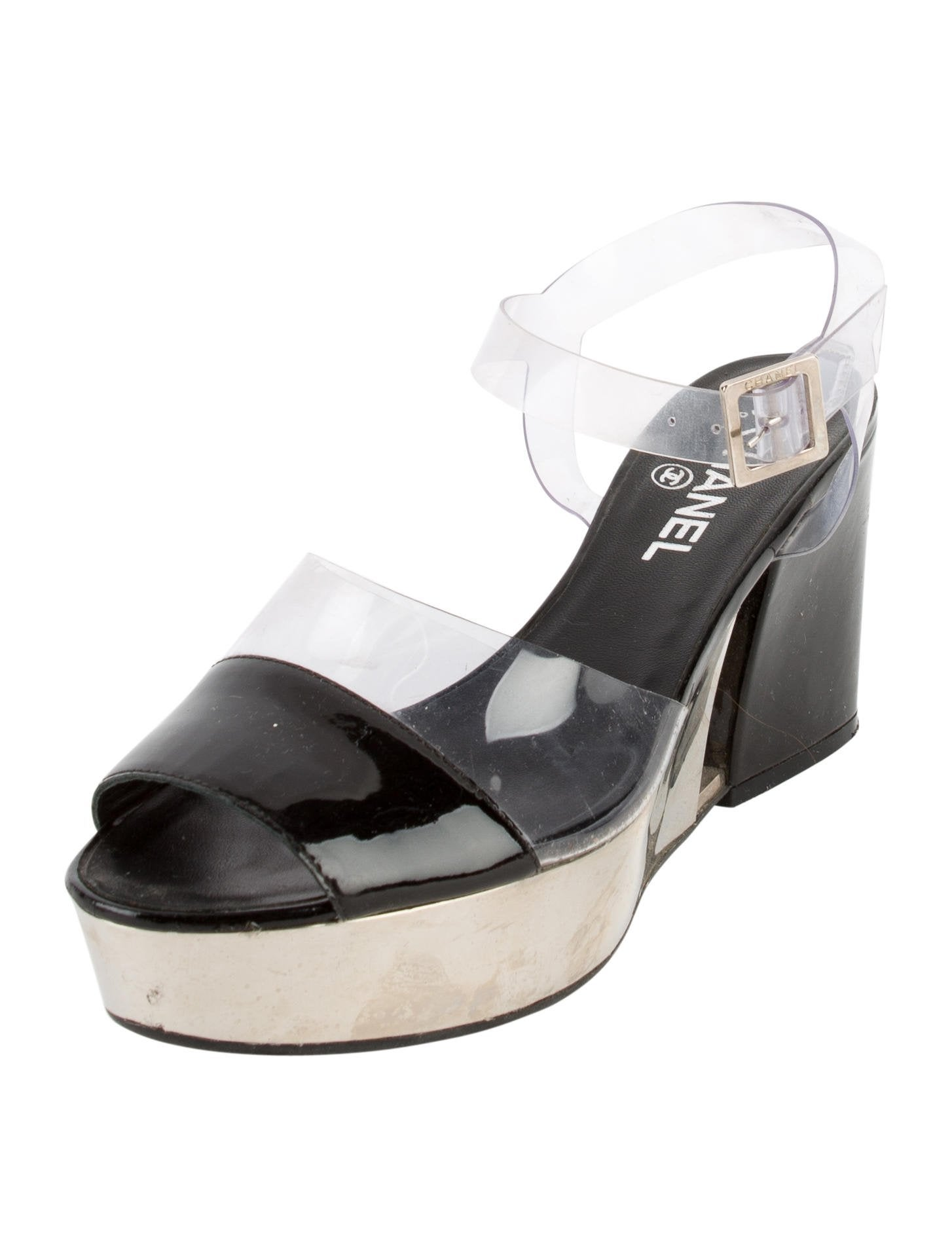 chanel pvc platform wedges shoes cha193200 the realreal