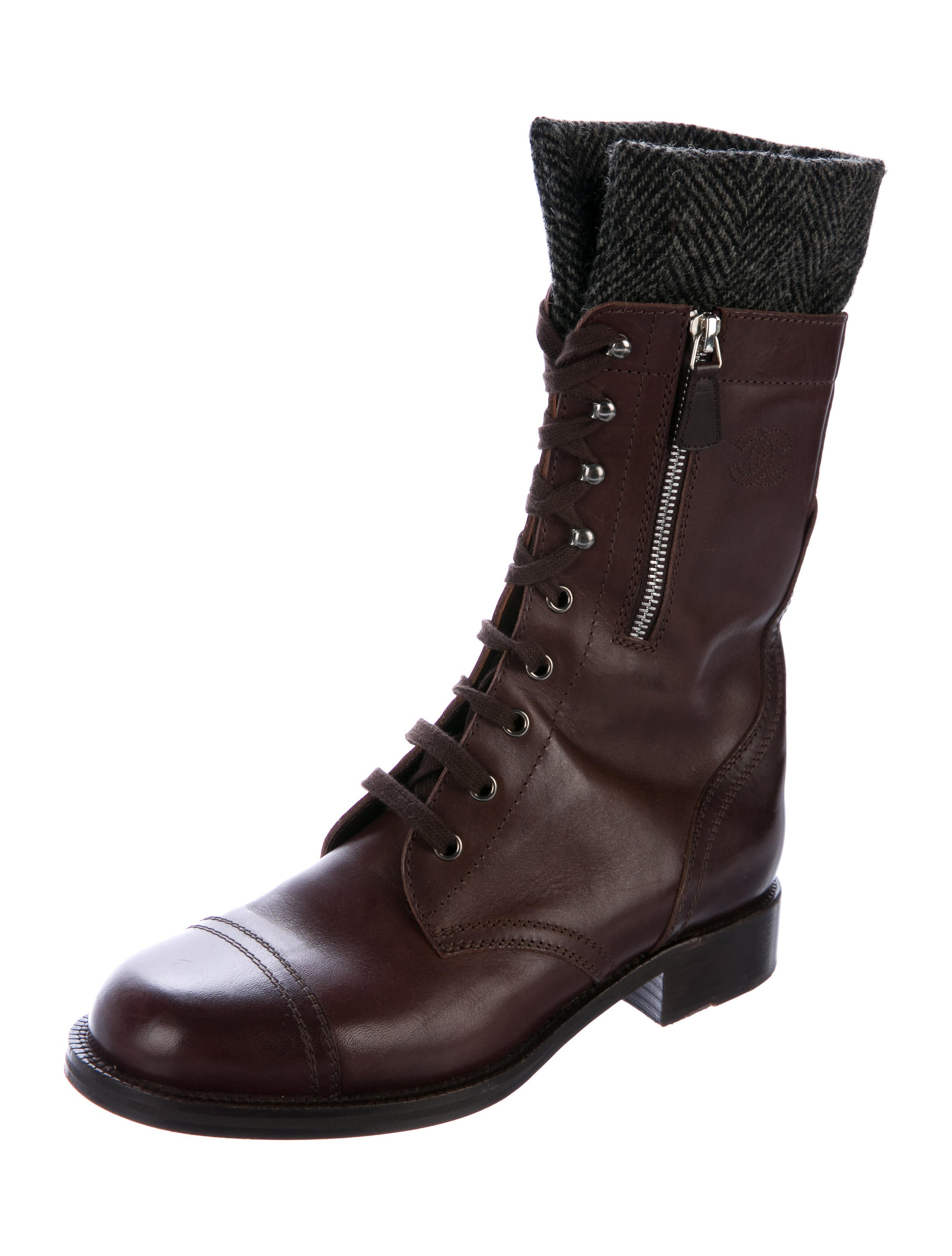 Chanel Leather Mid-Calf Combat Boots - Shoes - CHA193882 ...